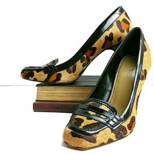Zara Shoes - Zara Calf Hair Leopard Print Loafer Heels Size 38